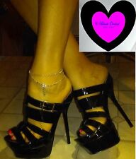 SCENE New 6.5 Glossy Black Cage Stiletto Heels Club Stripper Exotic Dancer Goth