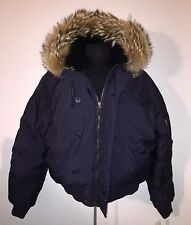 Ralph Lauren Bomber Coat Jacket Navy Large Hooded with Fur Canada Moncler