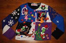 MICHAEL SIMON RARE THE GRINCH DOG CINDY LOU WHO CHRISTMAS SWEATER S BLACK