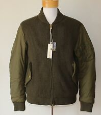 $298 NEW Diesel Co Jacket Full Zip Wool Knit Men's LARGE L Military Army Green