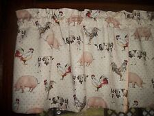 Tan Polka Dot Holstein Cow Pig Rooster Chicken farm fabric curtain Valance