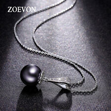 Shine Black Pearl Pendant Crystal Chunky Statement Long Chain Necklace Jewelry