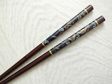 JAPANESE BROWN BLACK DRAGON CHOPSTICKS HAIR STICK CHINESE DINNER BIRTHDAY PARTY