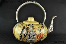 China porcelain Pumpkin shape teapot belle Painting inlay tibet-silver dragon NR
