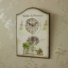 Large cream wooden plaque style wall clock shabby French chic country kitchen