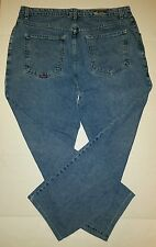 Quicksilver Classic Cut Stonewashed Blue Denim Jeans Sz 38 x 34 Cropped Hem USA