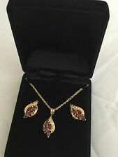 Brand new red garnet set necklace and earring set gold plated