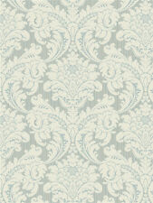 York Wallcoverings Classic Blue and Cream Stria Traditional Damask Wallpaper Diy