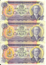 Bank of Canada 1971 $10 Ten Dollars Lot of 3 Notes Good VF+ Lawson- Bouey