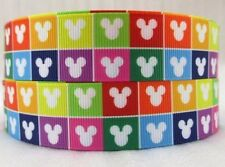 "BTY 7/8"" Colorful Mickey Heads Grosgrain Ribbon Hair Bows Lisa"