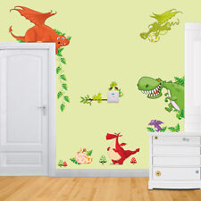 Wall Stickers dragon dinosaurs world boy decal Removable Home Decor Kids baby