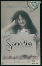 Beautiful Edwardian Child Girl Saturday fantasy vintage old 1910s photo postcard