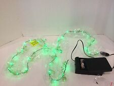 Colin Cowie Beaded Garland with LED Lights- Green-Holiday - Christmas -