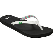 NEW Sanuk Maritime 2 Girls Flip Flops Sandals White Shoes Kids SGS10697 Sz: 3-4