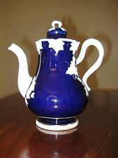 19thC MEISSEN BLUE GROUND TEAPOT with LID, CROSSED SWORDS