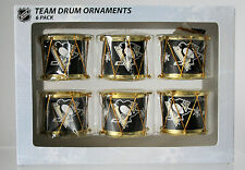 Pittsburgh Penguins Christmas DRUM ORNAMENT SET of 6 drums NHL