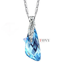 Ladies Cocktail Jewellery Use Swarovski Crystal Large Sapphire Fashion Necklace