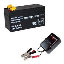 Ladegerät + Multipower Blei Gel Akku 12V 1,2Ah MP1.2-12 Accu Batterie Battery Pb