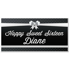 Black and White Sweet Sixteen 16 Birthday Banner Personalized Party Backdrop
