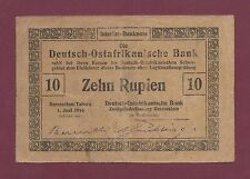 GERMAN EAST AFRICA 10 RUPIEN 1916 P-41 RARE  ( TANZANIA WEST GERMANY )