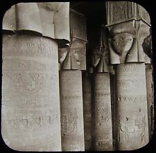 Glass Magic Lantern Slide EGYPTIAN DENDERA TEMPLE COLUMNS C1890 PHOTO EGYPT