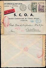 FRENCH IVORY COAST 1941 TABOU to MOROCCO AIRMAIL...CENSOR CONTROLE + 13 in RED