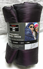 New Packable Down Emergency Throw Blanket 60 x 70 Ultra Light w/ bag Purple