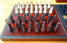 china folk collecton! Chinese wood Leather box with 32 pieces Chess Set