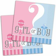"20 Boy Or Girl Baby Shower Gender Reveal Party 6.5"" Disposable Paper Napkins"