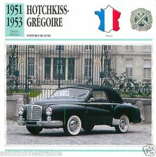 HOTCHKISS-GREGOIRE 1951 1953 CAR  VOITURE FRANCE CARTE CARD FICHE