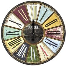 LARGE Vintage Retro Multi Colour Brass Roman Numerals Paris Wall Clock NEW 60cm