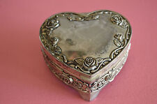 Vintage Regent Square Footed Heart Shaped Silverplate Trinket Box