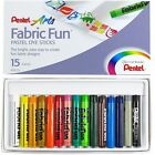 PENTEL FABRIC FUN PASTELS DYE STICKS TEXTILE T-SHIRT MARKER - Set of 15 Colours