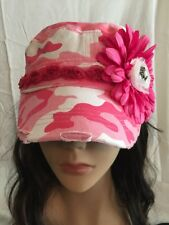Pink Camo Vintage Style Cadet Cap With Pink  Flower Silver Heart With Sword