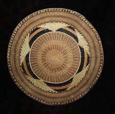 """Uncommon Antique Tlingit Polychrome Basketry Tray 10""""d - Outstanding Design -"""