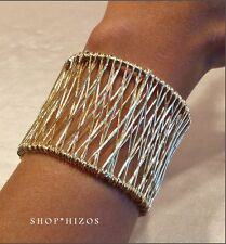 "NEW GOLD THIN MULTI CROSS WIRED 2"" CUFF STATEMENT BRACELET"
