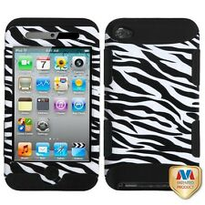 iPod Touch 4th Gen -HARD & SOFT RUBBER HYBRID ARMOR CASE COVER BLACK WHITE ZEBRA