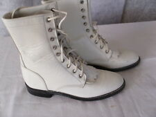 Ladies White JUSTIN Roper Style Lace-Up Western Boots Sz 5 1/2 B, Gently Worn