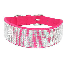 "17-21"" Full Bling Rhinestone Pet Dog Collar 2.0 inch Wide for Large Girl Dogs"