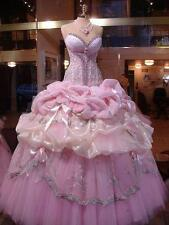 2016 Fashion Pink Quinceanera Party Dresses Long Prom Wedding Bridal Ball Gowns