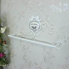 Ornato metallo bianco dipinto portasciugamani custodia shabby chic vintage bagno