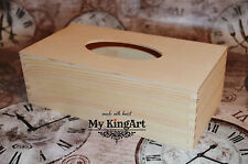 New Large Plain Wooden Tissue Box Gift Blank Unfinished Craft Decoupage Paint