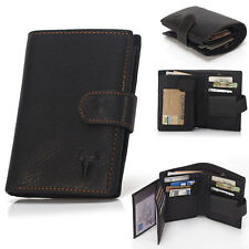 New Mens Bifold Grain Leather Wallet Case Credit Card Window ID License Black