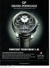 PUBLICITE ADVERTISING 106  2014  Girard-Perregaux  montre Constant Escapement