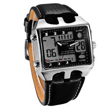 Casual OHSEN Digital LED Alarm Dial Black Leather Analogue Mens Wrist Watch