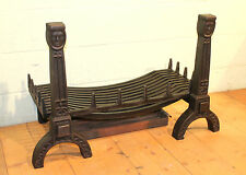 "Reclaimed Antique Cast Iron Set Of Fire Dogs & Basket - 40"" x 20.5"" x 26"""