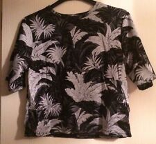 TOPSHOP Black and Silver Leaf Print Top Size 10 BNWOT