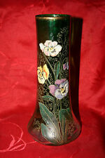 VASE LEGRAS-GRAND VASE DE 25 CM-DECOR EMAILLE DE PENSEES-VERT DEGRADE-LAMARTINE