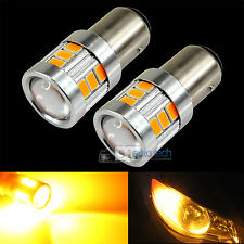 2X 1157 470 Lumen 5630 Chip LED Amber Yellow Front Turn Signal Light Bulbs Lamp