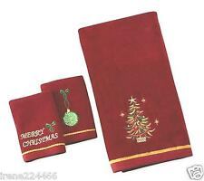 3pc Embroidered Christmas Tree Decorative Bath Set + 2 Fingertip Towels Red NWT